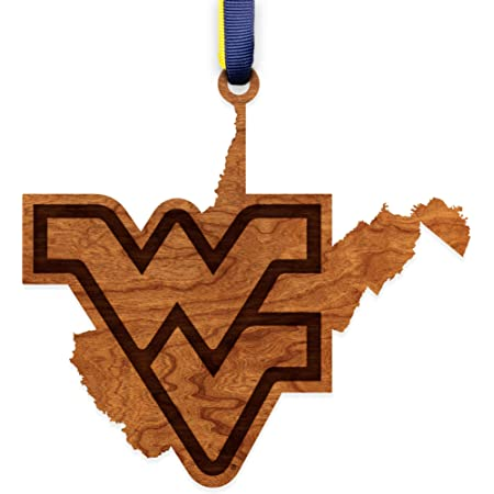 West Virginia Mountaineers WVU Bulb Silver Metal Christmas Ornament Gift Tree Decoration