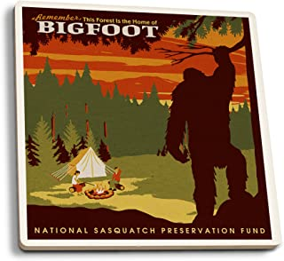 Lantern Press Home of Bigfoot - WPA Style (Set of 4 Ceramic Coasters - Cork-Backed, Absorbent)