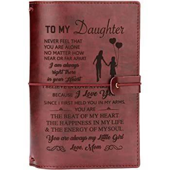 To My Daughter Where Ever Love Mom Engraved Leather Journal Diary Notebook Gift