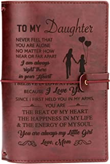 FAYERXL Daughter Journal Leather From Mom-lined journal notebook inspirational,Personalized Journals Gift Ideas for Daughter,Back to School Gift for Students (To my daughter-Love Mom)