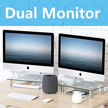 FITUEYES Computer Monitor Riser Stand with Height Adjustable Desktop for Laptop Dual Monitors Xbox One/Component/Flat Screen TV -2 Pack,DT103803GC