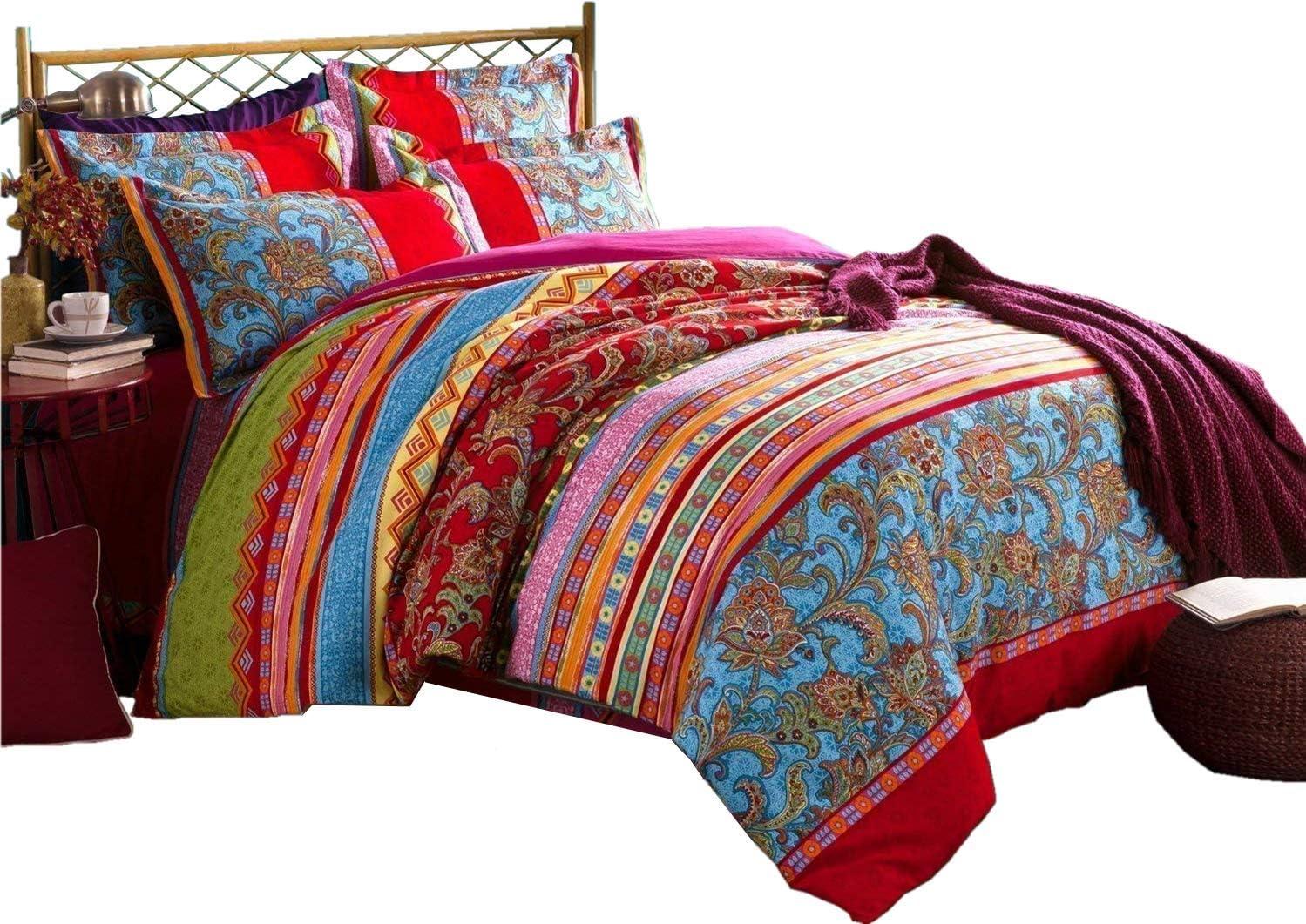 LELVA Bohemian Bedding Chic Boho Duvet Sheet Cover with Set Flat shop Easy-to-use