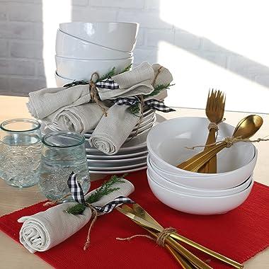 Euro Ceramica Essential Collection Porcelain Dinnerware and Serveware, 16 Piece Set, Service for 4, Classic White