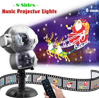 JEESA Christmas Projector Lights, Outdoor Christmas Decorations Music Snow Animated Projector with Remote Control LED Snowfall Hallowee Projector Decorative Lighting for Holiday Party Home Yard Garde