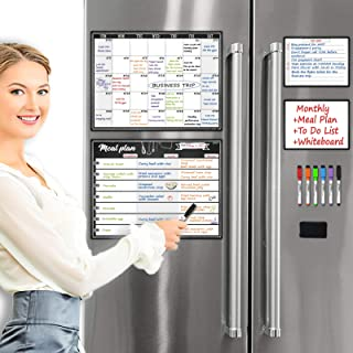 Magnetic Meal Planning Whiteboard - Undated Monthly Calendar Combo Set - Bonus to Do/Grocery List/Shopping List/Notepad wh...