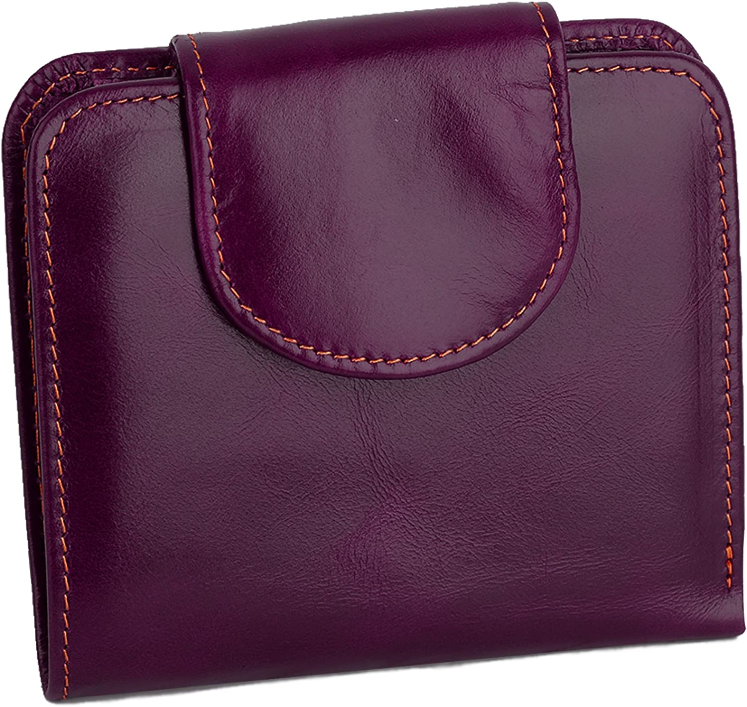 YALUXE Women's Large Capacity Small Compact Leather Wallet with Zipper Pocket ID Window