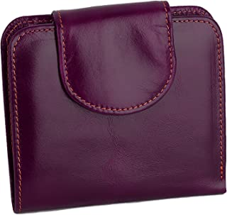 YALUXE Women's RFID Blocking Security Leather Compact Small Billfold Pocket Wallet Purple