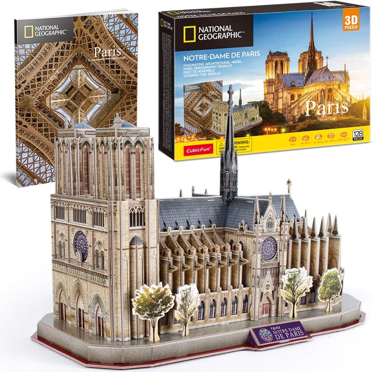 CubicFun 3D Puzzle for Adults Kids Notre Dame de Paris France Architecture Model Kits, Gifts for Boys Girls Adults, 128 Pieces