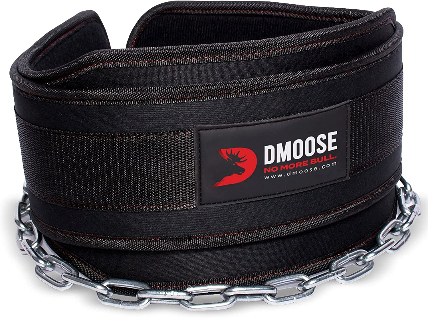 DMoose Fitness Dip Belt with Chain for Weightlifting, Pullups, Powerlifting, and Bodybuilding Workouts, Long Heavy Duty Steel, Comfortable Neoprene Waist Support (Black) : Sports & Outdoors