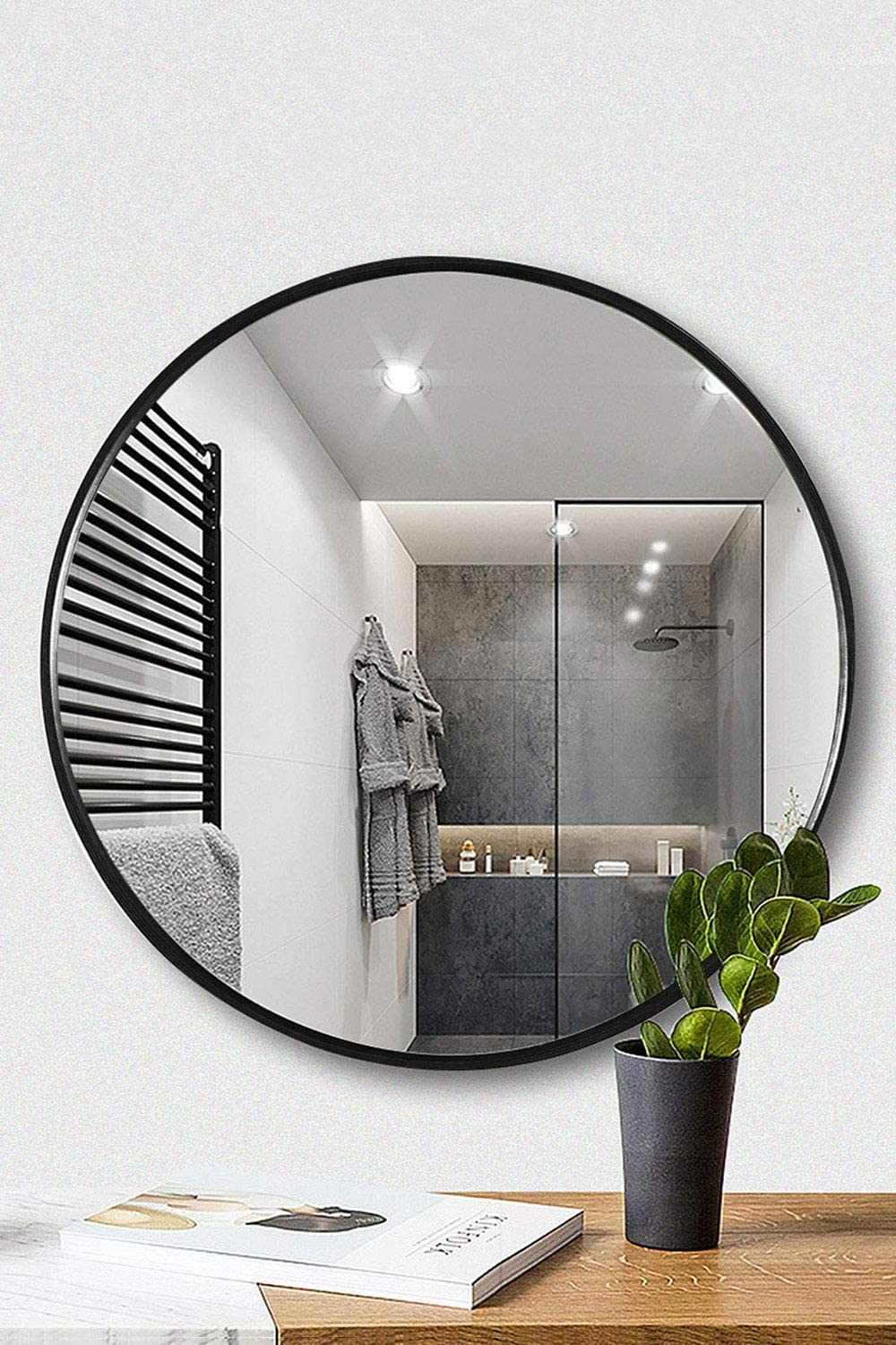 Amazon Com Tinytimes 23 63 Inch Round Mirror Modern Accent Wood Frame Large Vanity Mirror For Entryways Living Rooms Bathroom Home Mirrors Decor Circle Wall Mirror Black Home Kitchen