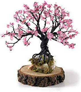 arbol tipo bonsai de alambre con critales rosa mexicano