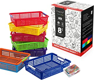 Magicfly Paper Organizer Basket, Pack of 8, Colorful Plastic Bins with Handles, Classroom Office File Holder, Plastic Baskets Organization Trays with Paper Clips for School Supplies, Drawers, Office