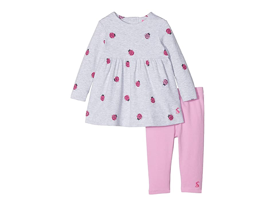 Joules Kids Dress and Leggings Set (Infant) (Grey Marl Ladybug) Girl