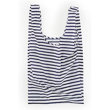 BAGGU Large Reusable Shopping Bag, Ripstop Nylon Grocery Tote or Lunch Bag, Sailor Stripe (2021)