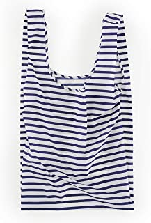BAGGU Large Reusable Shopping Bag, Ripstop Nylon Grocery Tote or Lunch Bag, Recycled Sailor Stripe
