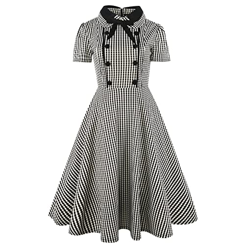 bc40c94b73b Women s Rockabilly Bow Neck Plaid Short Sleeve Vintage Work Swing Cocktail  Party Dress 212