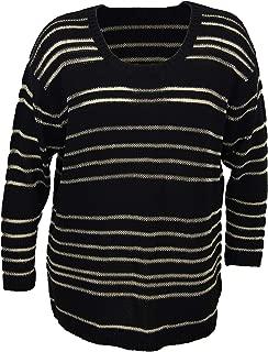 Debbie Morgan Long Sleeve Scoop Neck Sweater 1x Black/Gold Combo