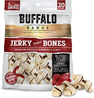 Buffalo Range Rawhide Dog Treats | Healthy, Grass-Fed Buffalo Jerky Raw Hide Chews | Hickory Smoked Flavor | Jerky Mini Bone, 20Count
