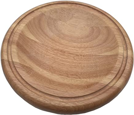 Checkered Chef Mezzaluna Cutting Board - Small Round Wooden Chopping Board For Mincing and Rocker Knives
