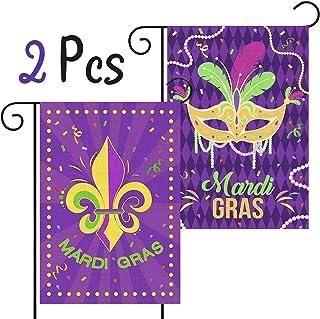 WATINC 2Pcs Mardi Gras Garden Flags Burlap Carnival House Flag with Fleur De Lis Mask Beads Confetti Feather New Orleans D...