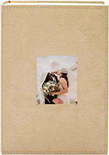 Golden State Art Fabric Photo Album - Beige Color - Holds 300 4x6-in Pictures (3 per Page) - One 3x3 Front Opening - Smooth Suede Style Cover