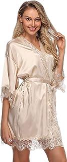 رداء كيمونو حريري مثير للنساء قصير ملابس نوم العروس وإشبينة العروس مع دانتيل مزخرف