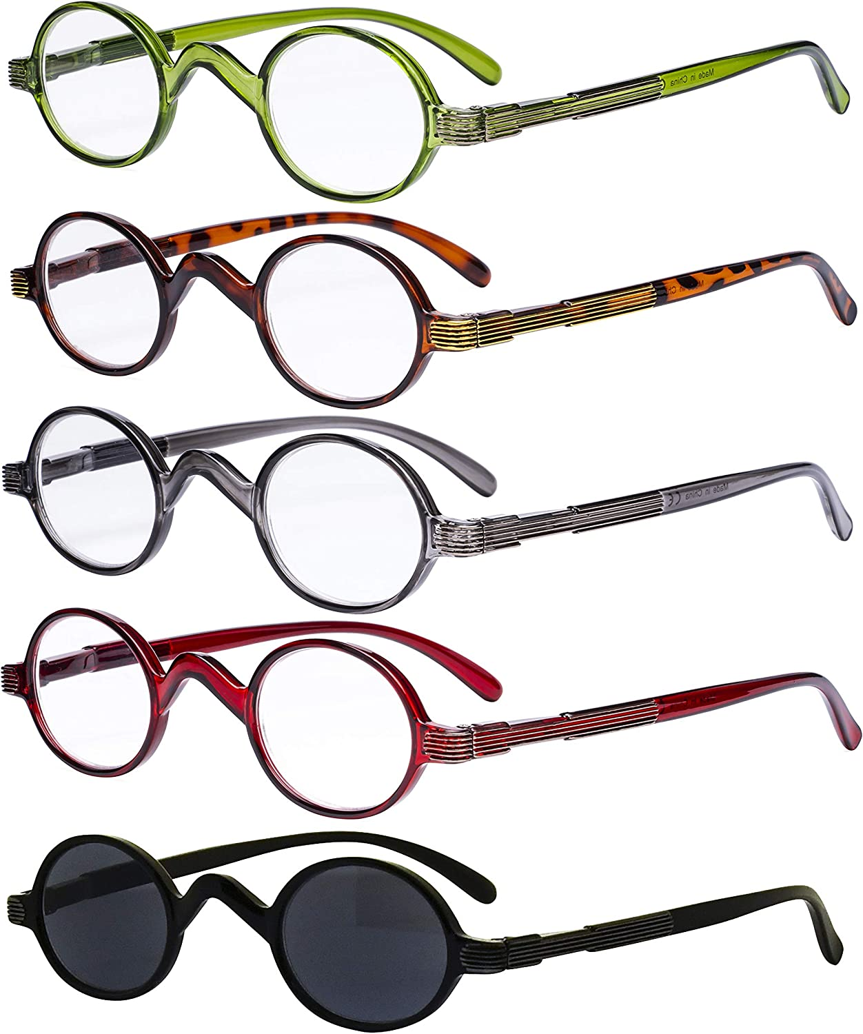 5-Pack Eyekepper Spring Temple Vintage Mini Ranking integrated 1st place Round Max 54% OFF Small Rea Oval