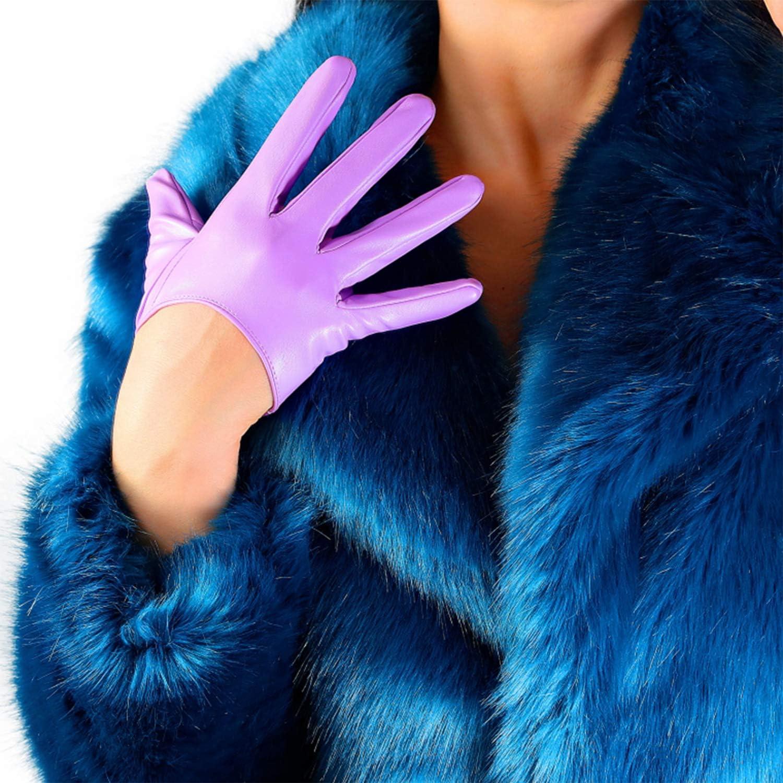 DooWay Women's Fashion Short New arrival Dress Faux Leather Gloves New arrival Lambskin