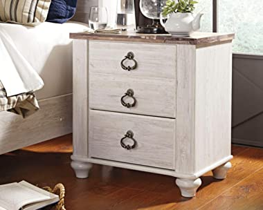 Signature DESIGN BY ASHLEY - Willowton Nightstand - Rustic Farmhouse Style - White Wash