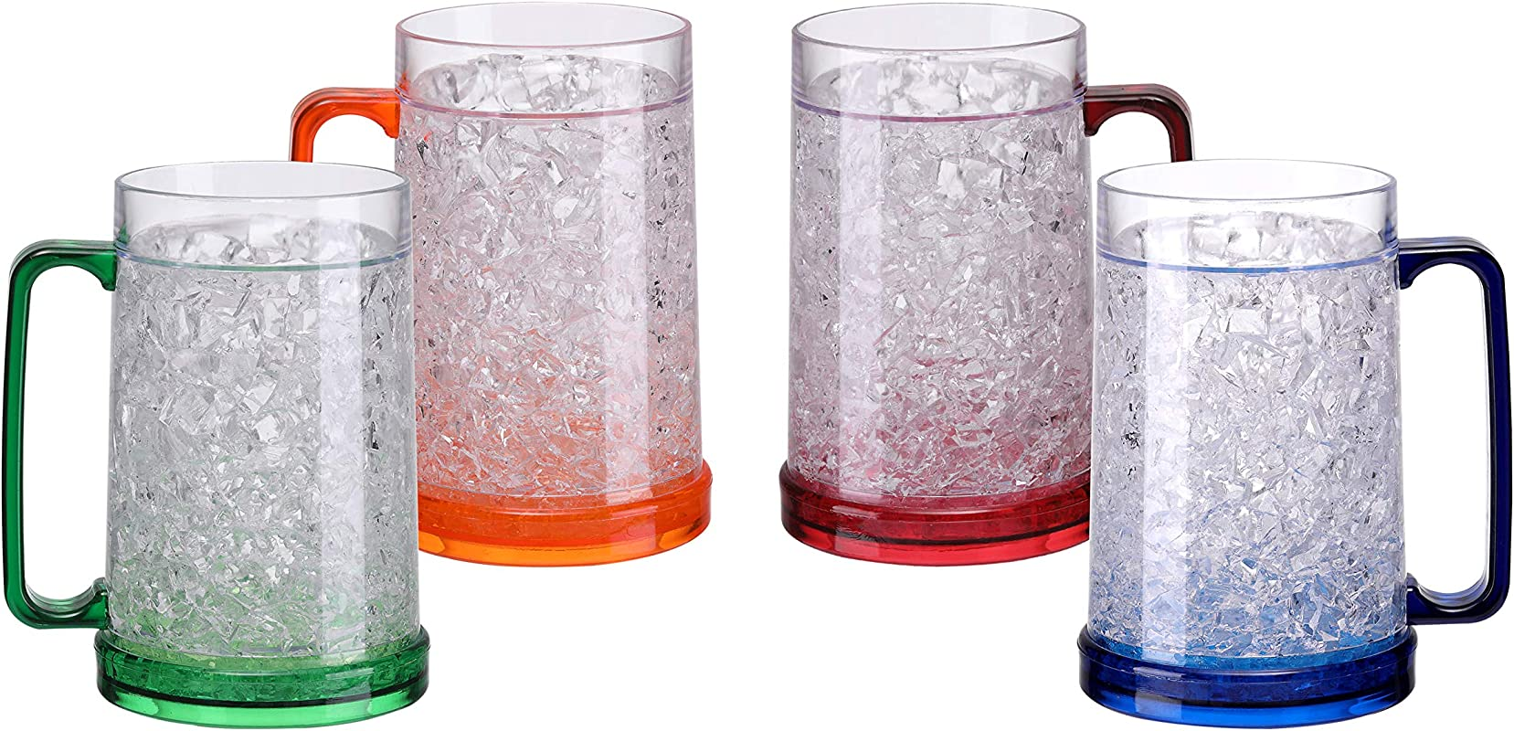 BC Inter Double Wall Gel Frosty Freezer Ice Mugs Clear 16oz Set Of 4 Blue Red Orange And Green