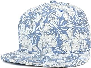Tropical Flower Pattern Print Cotton Flatbill Snapback Cap