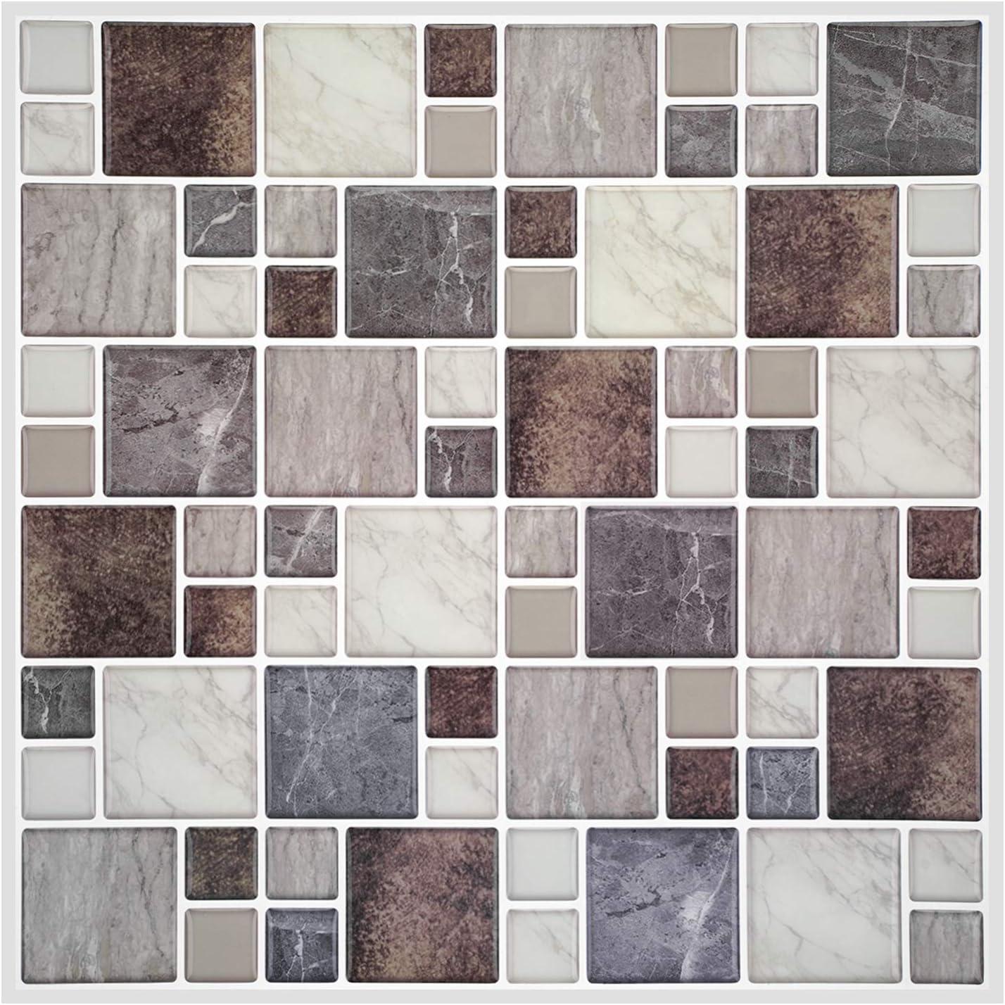 12-Sheet Peel and Stick trend New arrival rank Tile Stic Brown Marble Tiles Backsplash