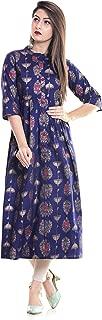 6TH AVENUE STREETWEAR Women's Cotton Long Anarkali Kurti - Blue