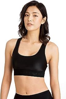 Women's Sport Bra Yoga Pants Tinlung Yoga Bras For Women Sports Bra Crop Top Cross Back Anti-Sagging Gathered Mesh Black