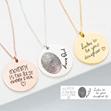 Handwriting Necklace Custom Handwriting Jewelry Signature Disc Necklace Fingerprint Necklace Memorial Gift