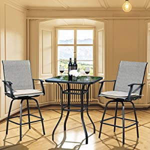 CharaVector Outdoor Bar Set,Swivel Patio Chairs,Bar Table and 2 Bar Stools with Cushions,Set of 3 High Top Outdoor Table and Chairs, Patio Furniture for Balcony,Backyard,Deck