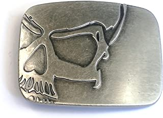 Vintage Skull Belt Buckle Cowboy Belt Buckle for Men Antique Silver