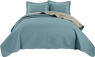 Chezmoi Collection Mesa 3-Piece Oversized Reversible Bedspread Coverlet Set (Queen, Blue/Khaki)