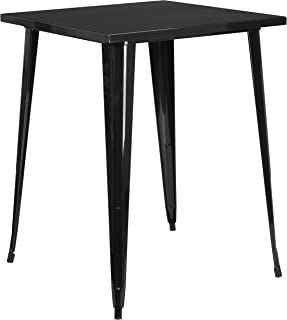 "Flash Furniture Commercial Grade 31.5"" Square Black Metal Indoor-Outdoor Bar Height Table"