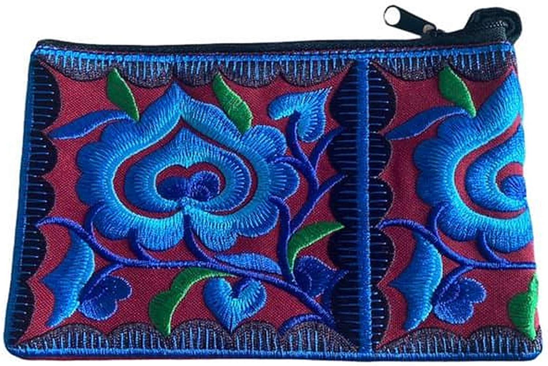 Burgundy Floral Wristlet Wallet for Women - Small Handmade Hmong Purse Pouch