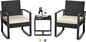 AIHO Bistro Outdoor Patio Set 3 Pieces Wicker Patio Chair Furniture Sets with Cushion Rocking Chair Set with Glass Table Rattan Chair Modern Bistro Set for Porches and Patios(Beige Cushion)