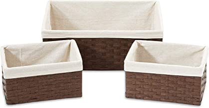 Americanflat Set of 3 Brown Woven Paper Storage Baskets with Removable Linen Liners - Durable Metal Frame - Nesting Basket...