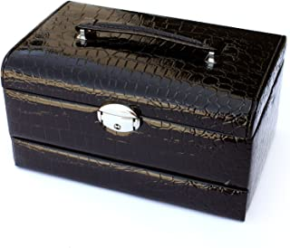 Focuseparts Focus EPARTS174; 3 Layer 15 Rings 11 Slots Black Leather Jewelry Box for Rings Accessories w/Carrying Handle and Crocodile Finish