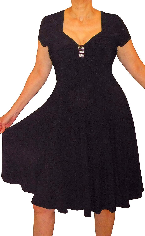 Funfash Plus Size Women Black Slimming Empire Waist Cocktail Dress Made in USA