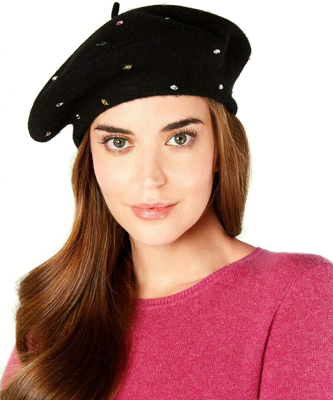 INC International Concepts Jewel-Embellished 100% Wool Beret - Black