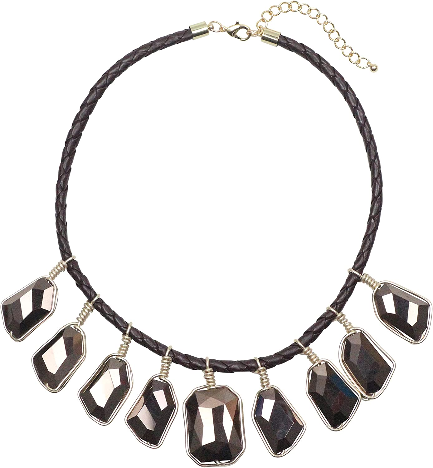 Fashion Leather Braided Rope Big Acrylic Beads Collar Chunky Necklace for Women