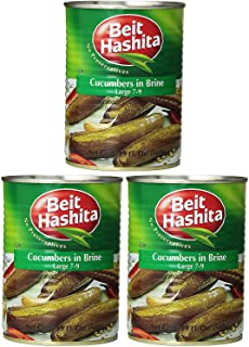 Beit Hashita Cucumbers in Brine Large, 7-9 Count, 19oz (Pack of 3, Total of 57 Oz)