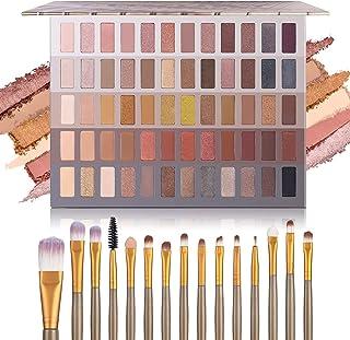 UCANBE Pro 60 Shades Eyeshadow Palette + 15 pcs Makeup Brushes Set High Pigmented Naked Nudes Shimmer Matte Metallic Smoke...