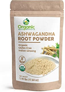 Organic Ashwagandha Root Powder - 1.10 lbs (17.64 oz), Lab Tested for Heavy Metal and Purity, Resealable Kraft Bag, Non-GM...