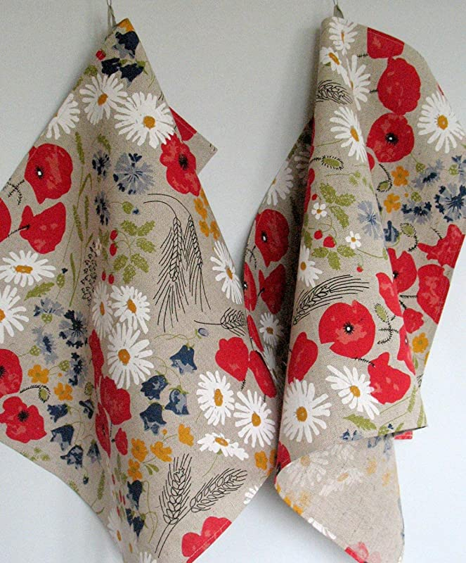 Linen Cotton Dish Towels Daisies Poppies Cornflowers Flowers Tea Towels